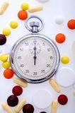 Pills And Stopwatch Royalty Free Stock Photos