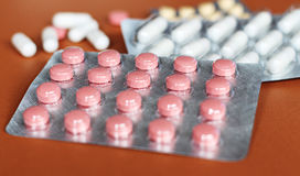 Pills and another drugs for illegal doping manipulations. Pharmacy antibiotic and antidepressant. Royalty Free Stock Photos