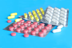 Pills and another drugs for illegal doping manipulations. Pharmacy antibiotic and antidepressant. Royalty Free Stock Photo