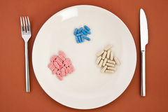 Pills as dinner on plate Royalty Free Stock Images