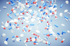 Pills background abstract. In blue Stock Photo