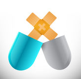 pills band aid fix solution concept illustration Royalty Free Stock Photos
