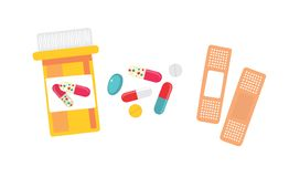 Pills and bandage. Royalty Free Stock Images