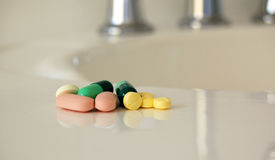 Pills on Bench Stock Photography