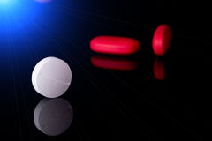 Pills on black background Stock Photography