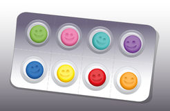 Pills Blister Happy Smile Colors. Blister with eight colorful smiling pills. Vector illustration Royalty Free Stock Photography