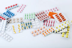Pills in blister pack. Different pills in blister pack on white background Stock Photography