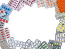 Pills in blister pack. Different pills in blister pack on white background Stock Images