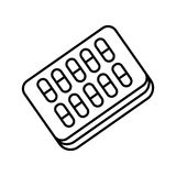 Pills blister pack vector icon. Eps 10 Royalty Free Stock Photography