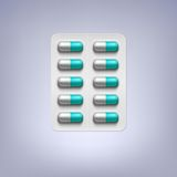 Pills in a blister pack. Vector illustration Royalty Free Stock Photography