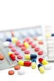 Pills and blister strips Royalty Free Stock Photos