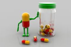Pills and bottle Stock Photos