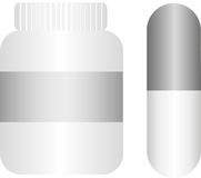 Pills with bottle Stock Images