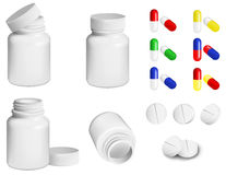 Pills and bottle. Bottle for medicines and set of various pills and tablets Stock Illustration