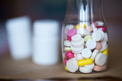 Pills in bottle. Stock Photo