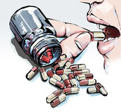 Pills in the bottle and the person taking medicine Royalty Free Stock Image