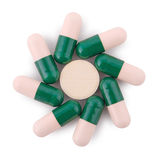 Pills from bottle on the white (Clipping path) Stock Images