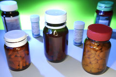 Pills in Bottles Royalty Free Stock Images