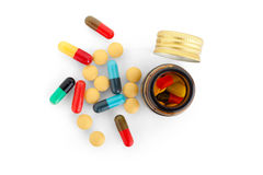 Pills & bottles Stock Images
