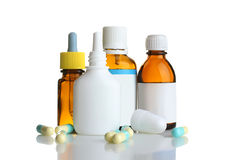 Pills and bottles of medicine Stock Photo