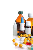 Pills and bottles of medicines Royalty Free Stock Image