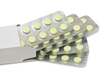 Pills in the box Royalty Free Stock Photo
