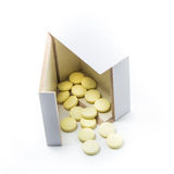 Pills in a box on a white background Stock Photo