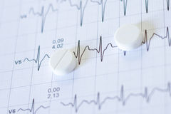 Pills for bp on a electrocardiogram papers Stock Photo