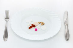 Pills Breakfast Royalty Free Stock Photography