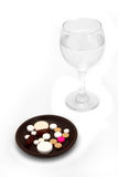 Pills breakfast Royalty Free Stock Images
