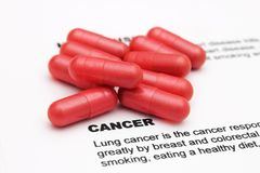 Pills on cancer text Stock Photos