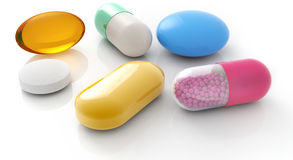 Pills and capsules stock illustration