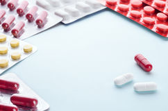 Pills and capsules in a Blister Stock Image