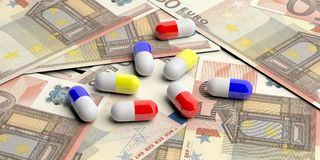 Pills capsules on Euro banknotes background. 3d illustration. Colorful pills capsules on on fifty Euro banknotes background. 3d illustration Stock Photo