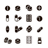 Pills and capsules icons set  vector. Royalty Free Stock Photo