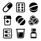 Pills and Capsules Icons Set Royalty Free Stock Images