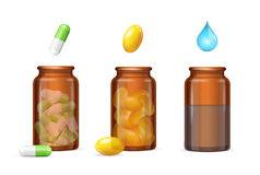 Pills Capsules in Medical Glass Bottle Set. Vector Stock Images