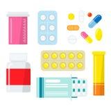 Pills and capsules set Stock Photos