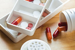 Pills and capsules sorted out Royalty Free Stock Photo