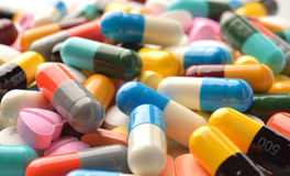 Pills capsules and tablets as medicine Stock Photos