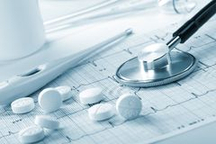 Pills on the cardiogram Royalty Free Stock Images