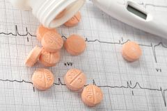 Pills on the cardiogram Royalty Free Stock Photos
