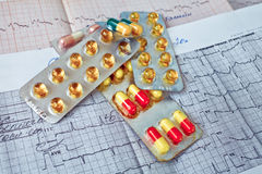Pills  on the cardiogram Stock Images