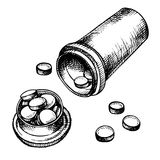 Pills cartoon Royalty Free Stock Image