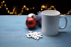 Pills on Christmas table Stock Photos