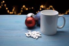 Pills on Christmas table Stock Photos