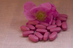 Pills on the cloth with a flower of the wild rose Stock Photos