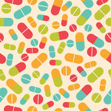 Pills collection. Medical pills and capsules seamless pattern. C Stock Image