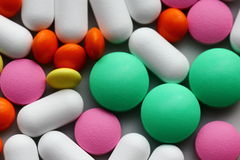 Pills. Colorful pills background,  close up Royalty Free Stock Image