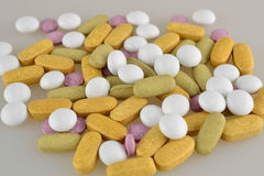 Pills. Colourful pills and tablets - medicaments Royalty Free Stock Photography